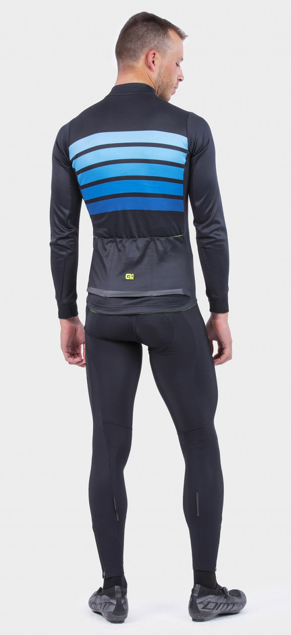 ALE' Sombra Wool Thermo PRR Blue Long Sleeve Jersey Rear