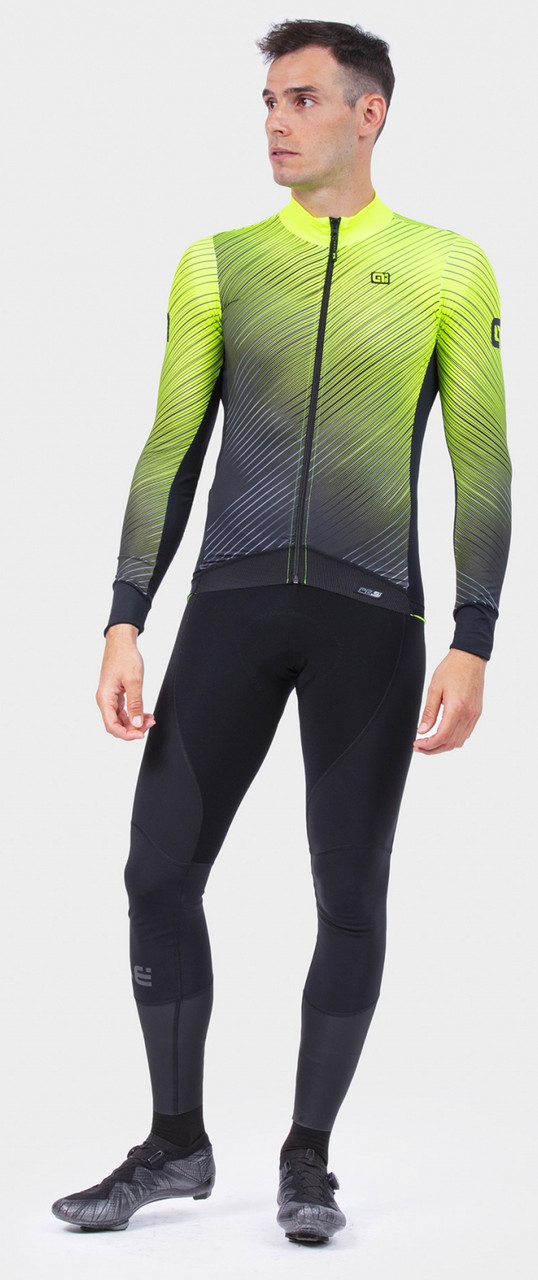 ALE' Storm PRS Yellow Long Sleeve Jersey RIder Rear