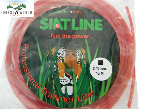 SIAT Heavy Duty Professional ALU Strimmer line, 15 m,2,4 mm,SQUARE