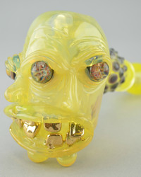 JORDY MINNICK - Multi-Face Dry Hammer Pipe with Gold Grill - #3