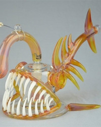 "BUCK/GEMINI ANDY - ""Angler Fish"" 8-Slit Bubbler w/ 18mm Belly Button Style Vapor Curve - #2"