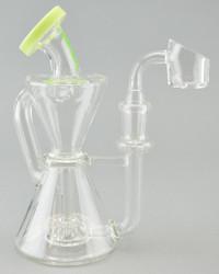 MAV - Hourglass Recycler Rig w/ 14mm Female Joint & Quartz Banger Nail - Kiwi