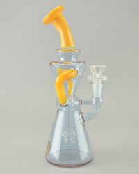 AFM - Hourglass Recycler Rig w/ 14mm Female Joint & Slide - Sunburst/Blue