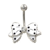 White and Black Polka Dot Bow Tie Belly Ring