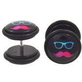 Neon Sunnies & Stache Fake Plug Earrings (00g Look)