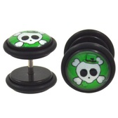 Irish Party Skull Fake Plug Earrings (00g Look)