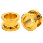 "Gold Plated Screw Fit Tunnel Plugs (8g-1"")"