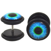 Blue/Green Eyeball Fake Plug Earrings (00g Look)