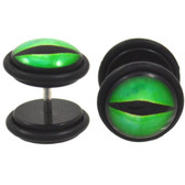 Bright Green Slit Fake Plug Earrings (00g Look)