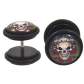 Thorny Floral Skull Fake Plug Earrings (00g Look)