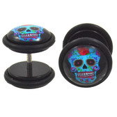 Colorful Sugar Skull Fake Plug Earrings (00g Look)