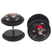 Skeleton Pirate Fake Plug Earrings (00g Look)
