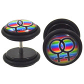 Double Female Sign Rainbow Fake Plugs