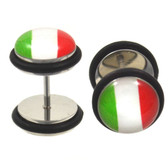 Italian Flag Fake Plug Steel Earrings (00g Look)