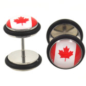 Canadian Flag Fake Plug Steel Earrings (00g Look)