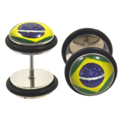 Brazilian Flag Fake Plug Steel Earrings (00g Look)