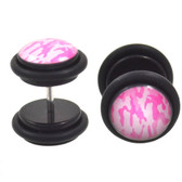 Pink Camouflage Print Fake Plug Earrings (00g Look)