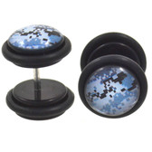 Blue Digital Camo Print Fake Plug Earrings