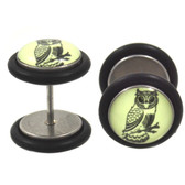 Glow in the Dark Owl Fake Plugs Earrings (00g Look)