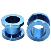 "Blue Titanium Screw Fit Tunnel Plugs (14g-1"")"