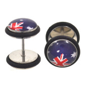 Australian Flag Fake Plugs Steel Earrings (00g Look)