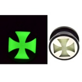 "Glow in the Dark Iron Cross Screw Fit Ear Plugs (2g-1"")"