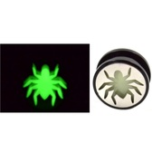 "Glow in the Dark Spider Screw Fit Ear Plugs (2g-1"")"