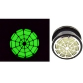 "Glow in the Dark Spider Web Screw Ear Plugs (2g-1"")"