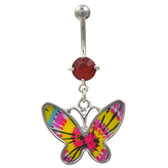 Tie Dye Butterfly Dangle Belly Ring w/Red Gem