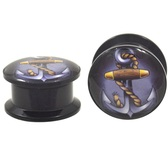 "Cartoon Ship Anchor Acrylic Screw Ear Plugs (8g-13/16"")"