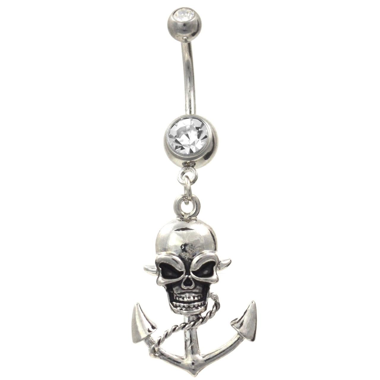 Devilish Skull Anchor Stainless Steel Belly Ring