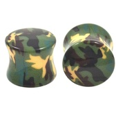 "Army Green Camouflage Camo Saddle Plugs (2g-5/8"")"