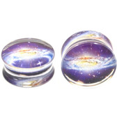 "Double Flared Clear Acrylic Purple Galaxy Plugs (2g-1"")"