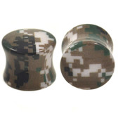 "Green/Tan/Black Digital Camo Print Plugs (2g-5/8"")"