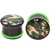 "Camo Print Acrylic Single Flared Ear Plugs (2g-1"")"