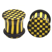 "Black/Yellow Checkerboard Single Flared Plugs (00g-1"")"