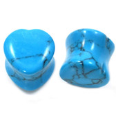 "Turquoise Stone Heart Shaped Ear Plugs (2g-5/8"")"