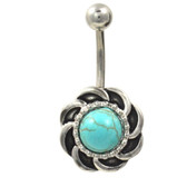 Turquoise Stone Swirly Vintage Medallion Belly Ring