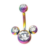 Rainbow & Clear 4-Gem Mouse Ears Belly Ring
