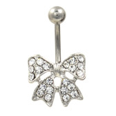 Petite Clear Gemmed Bow Tie Belly Ring