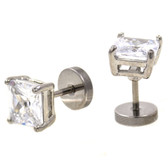 Steel Square Cut Clear Gem Fake Cheater Plugs 0G Look