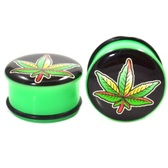 "Rasta Pot Leaf Acrylic Single Flared Ear Plugs (2g-1"")"
