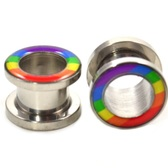 "Rainbow Flag Rim Steel Screw Tunnel Plugs (8g-5/8"")"