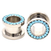 "Aqua Blue Gem Rim Screw Fit Steel Tunnels (8g-1/2"")"
