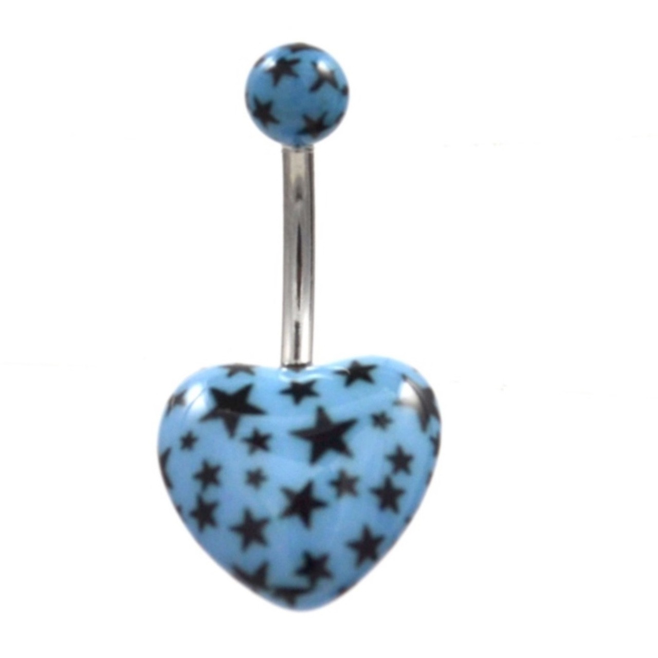 Light Blue All Over Star Print Heart Shaped Belly Ring