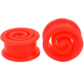 "Flexible Red Silicone Cut Spiral Center Plugs (2g-1"")"