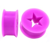 "Purple Silicone Cut Star Center Ear Plugs (6g-13/16"")"
