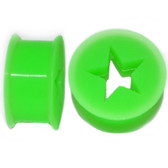 "Green Silicone Cut Star Center Ear Plugs (6g-13/16"")"