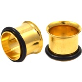 "Gold Plated Single Flared Tunnel Plugs (12g-1"")"