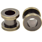 "Brushed Grey Steel Screw Fit Tunnel Plugs (10g-1"")"
